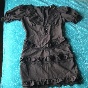CBR Small Black Lace Ruffled Dress Zip in Back